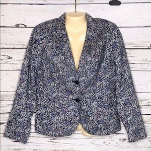 Talbots 12P Blue White Floral Cotton Blazer Jacket